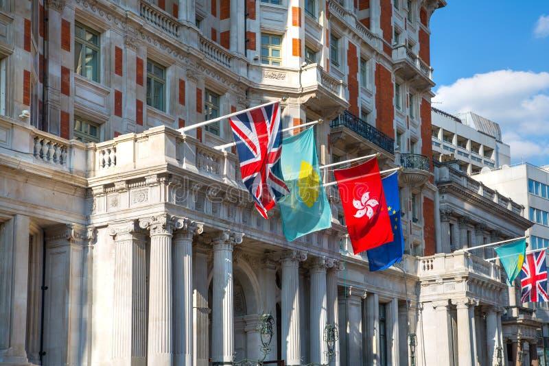 London, UK. Mandarine hotel main entrance. Kensington stock photo