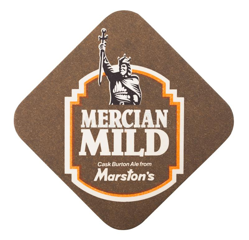 LONDON, UK - AUGUST 22, 2018: Marston`s Mercian Mild beer beermat coaster isolated on white background. royalty free stock images
