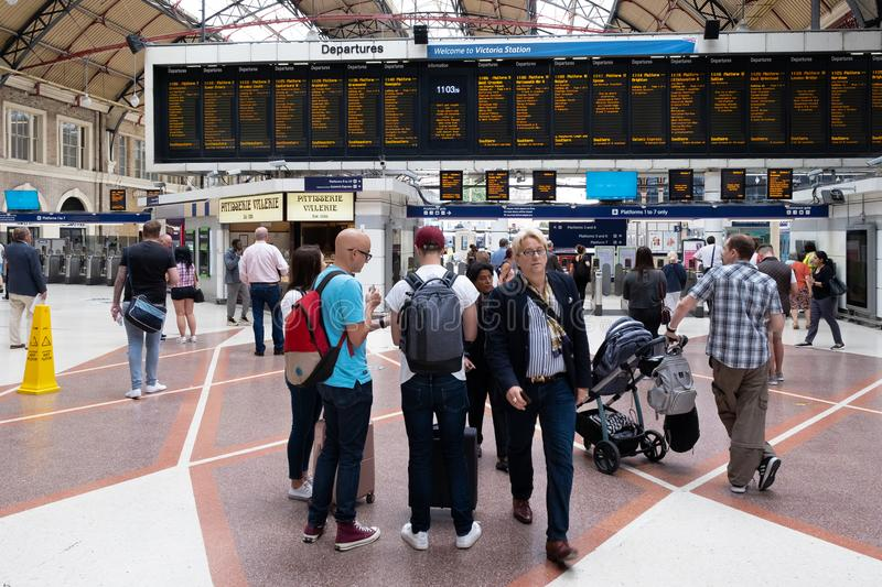 Passengers at the London Victoria train station royalty free stock photos