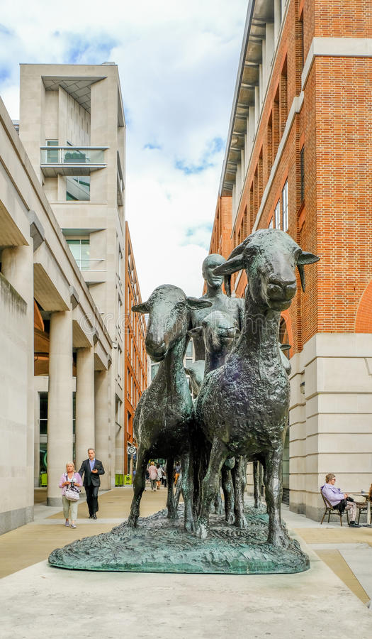 London, UK - August 3, 2017: Shepherd and sheep by Dame Elizabeth Frink. London, UK - August 3, 2017: Shepherd and sheep by Dame Elizabeth Frink, closeup stock photo