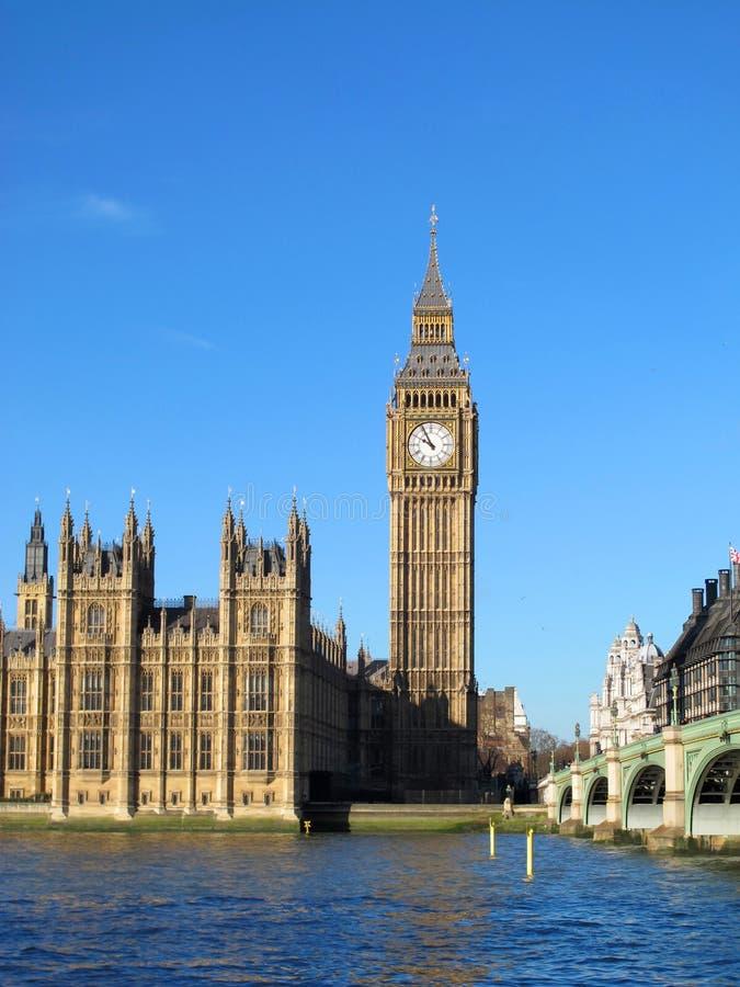London UK - Big Ben. London. Big ben from the Thames bank in summer stock photos
