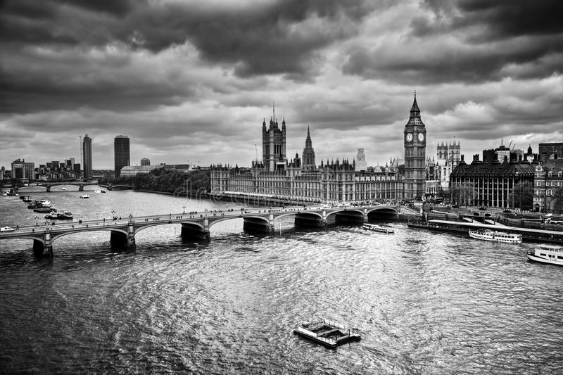 London, the UK. Big Ben, the Palace of Westminster in black and white. The icon of England stock image