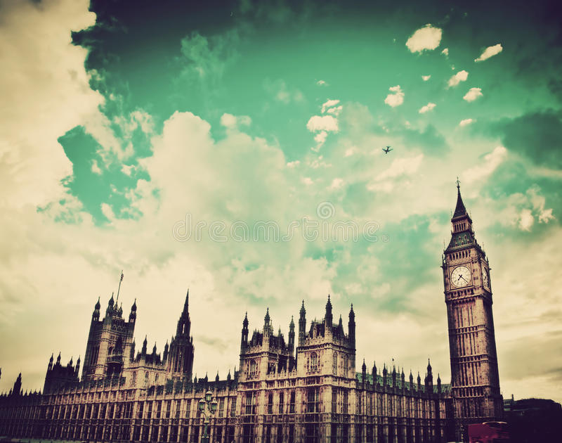 London, the UK. Big Ben, the Palace of Westminster. The icon of England in vintage, retro style stock photo