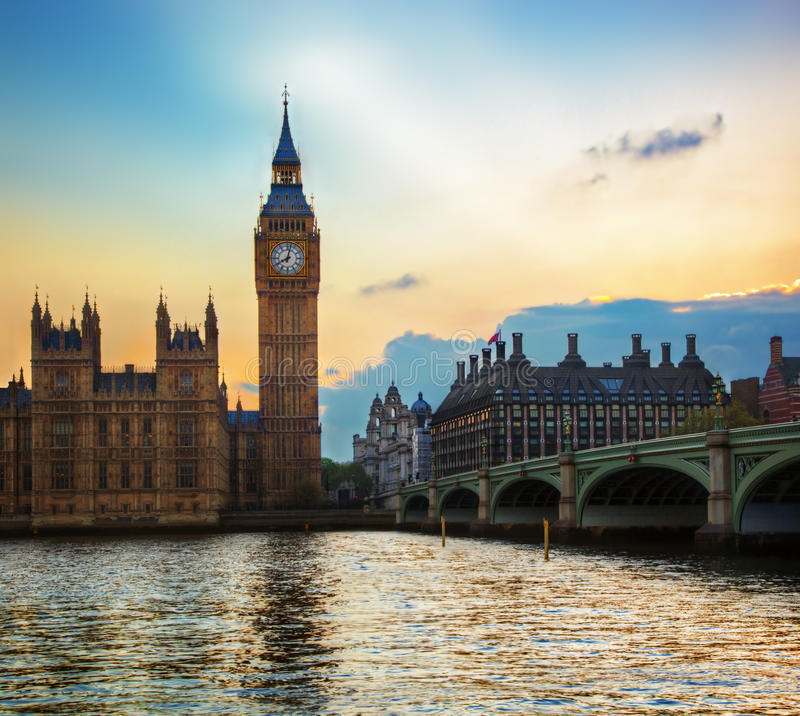 London, the UK. Big Ben, the Palace of Westminster at sunset. The icon of England stock photo