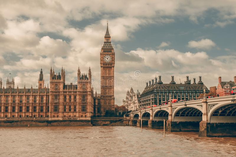London, UK. Big Ben in Westminster Palace on River Thames. London, UK panorama. Big Ben in Westminster Palace on River Thames royalty free stock photography