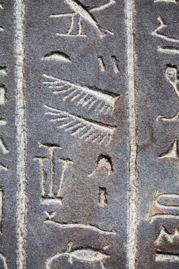 29. 07. 2015, LONDON, UK, BRITISH MUSEUM - Hieroglyphs on egyptian coffins. There are details and textures royalty free stock image