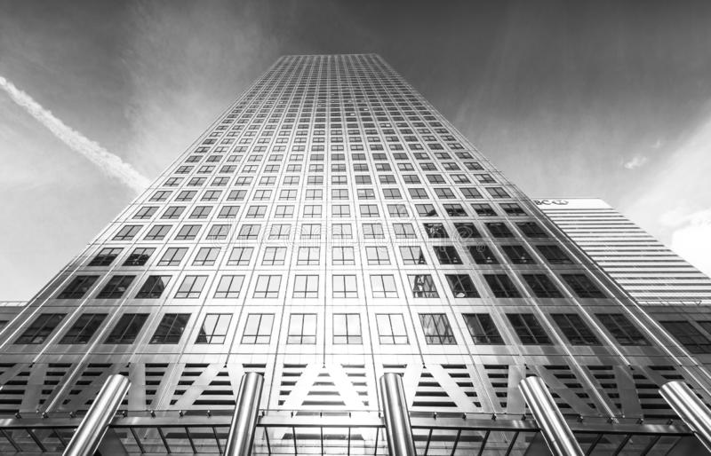 The iconic office tower - One Canada Square, in black and white, with surround office stock photos