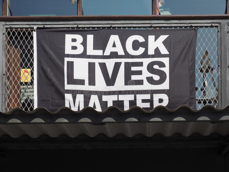 Black Lives Matter banner in London royalty free stock photo