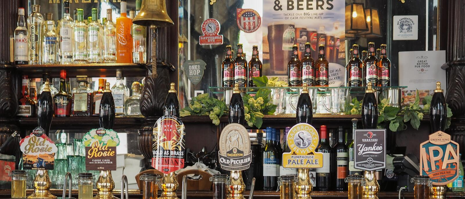 Cask beers in London stock images