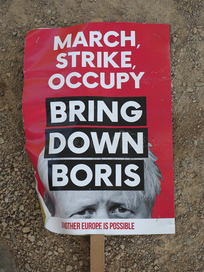 LONDON - SEP 2019: Bring down Boris anti Brexit banner. LONDON, UK - CIRCA SEPTEMBER 2019: March Strike Occupy Bring down Boris (Johnson) banner used by anti stock images