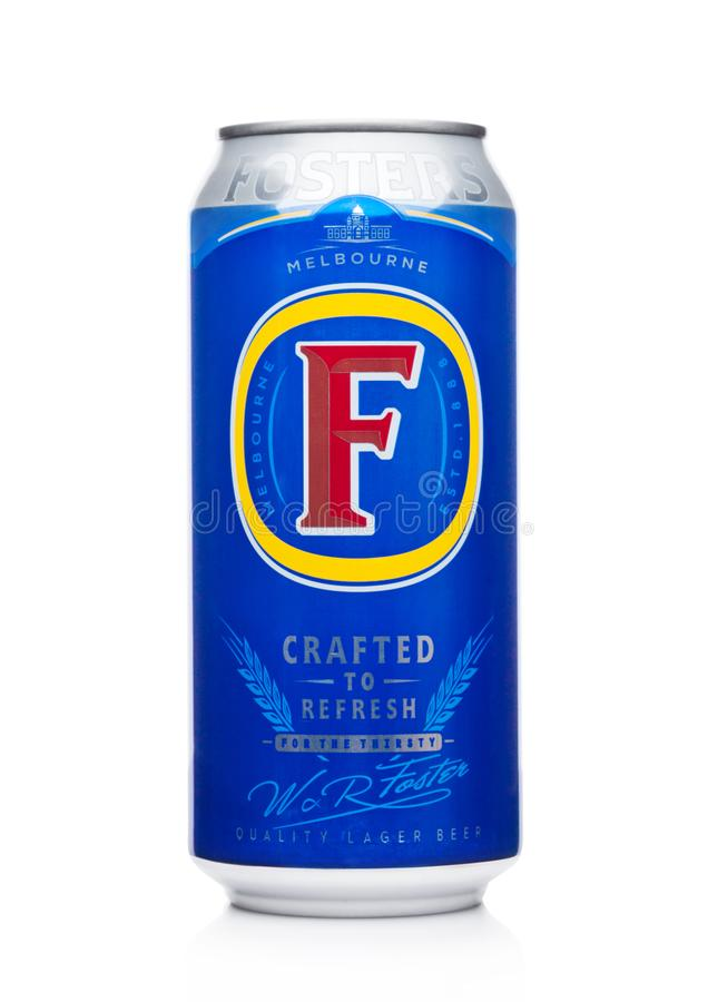 LONDON, UK - DECEMBER 15, 2017: Aluminium can of Foster`s Lager Beer on black background. With reflection royalty free stock photo