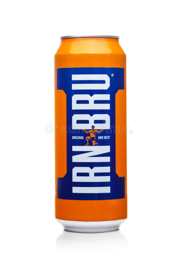 LONDON, UK - DECEMBER 01, 2017: Can of Irn-Bru lemonade soda drink on white. Produced by Barr in Scotland, UK. LONDON, UK - DECEMBER 01, 2017: Can of Irn-Bru royalty free stock photo