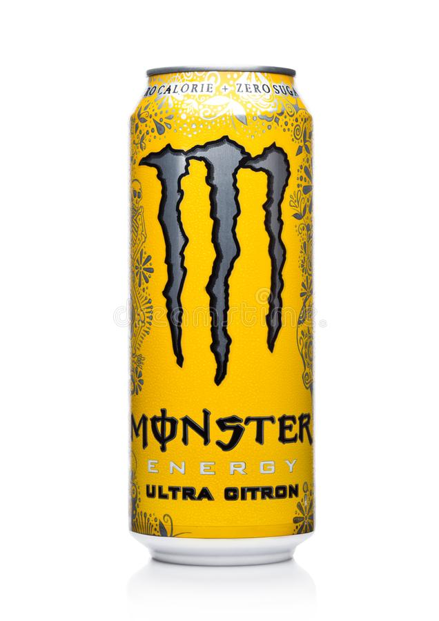 LONDON, UK - DECEMBER 15, 2017: A can of Monster Energy Drink ultra citron on white. Introduced in 2002 Monster now has over 30 di. LONDON, UK - DECEMBER 15 stock photos