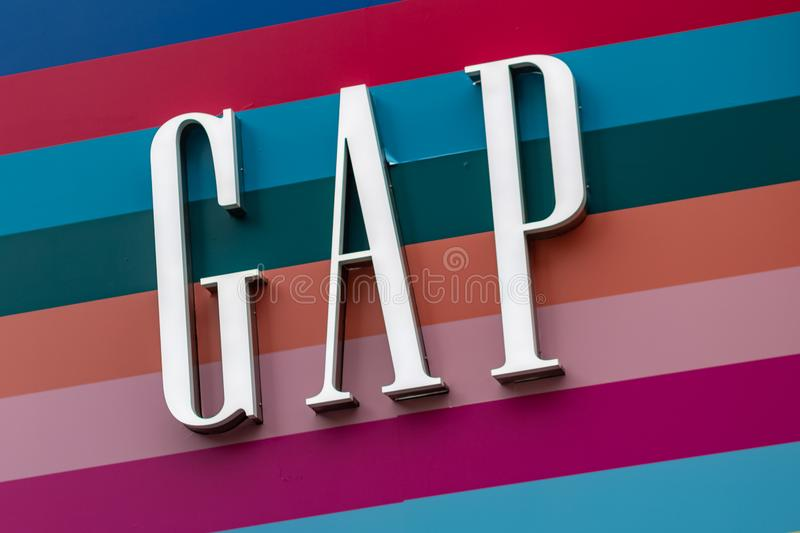 London, UK - 17, December 2018: Close up of the Gap logo above the Gap store in London, UK royalty free stock images