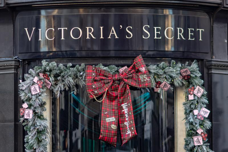 London, UK - 17, December 2018: Close up of the Victoria`s Secret logo above the store in London, UK stock photography