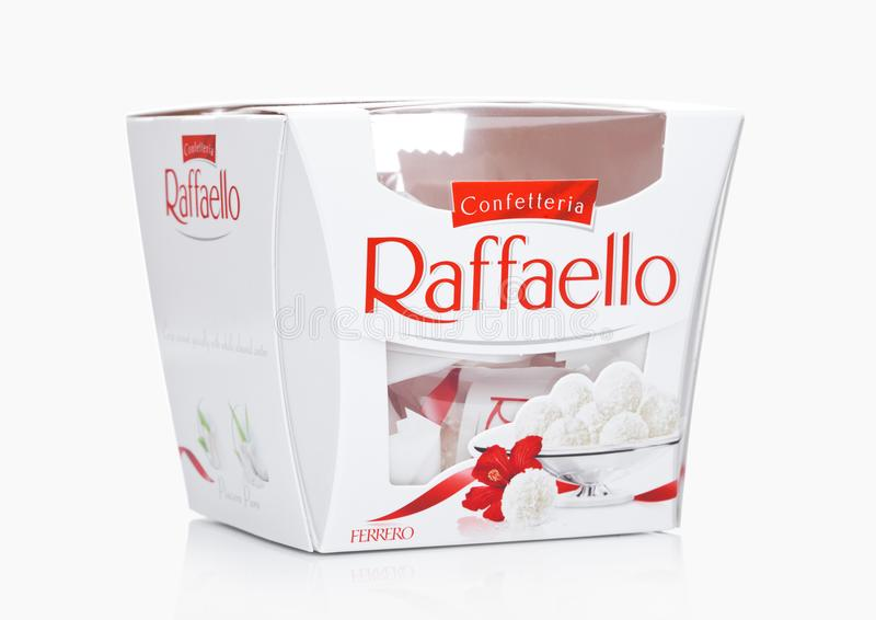 LONDON, UK -DECEMBER 07, 2017: Ferrero Raffaello in a box on white. Raffaello is a spherical coconut almond confection that manufa stock photos