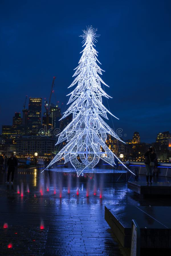 View of a modern LED Christmas tree standing next to the City H stock photography