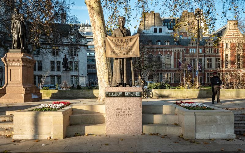 Statue of Millicent Fawcett, London, UK. LONDON, UK - 4 DECEMBER 2018: A statue of the English suffragist and union leader Millicent Fawcett, an early feminist royalty free stock photos