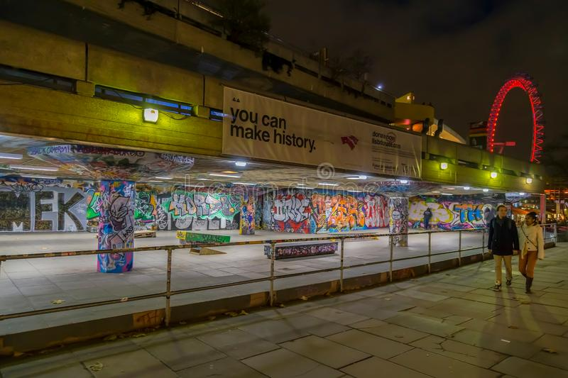 Youth culture with graffiti paintings in Skateboard park, London. LONDON, UK - DECEMBER 28, 2017: Youth culture with graffiti paintings in Skateboard park royalty free stock photography