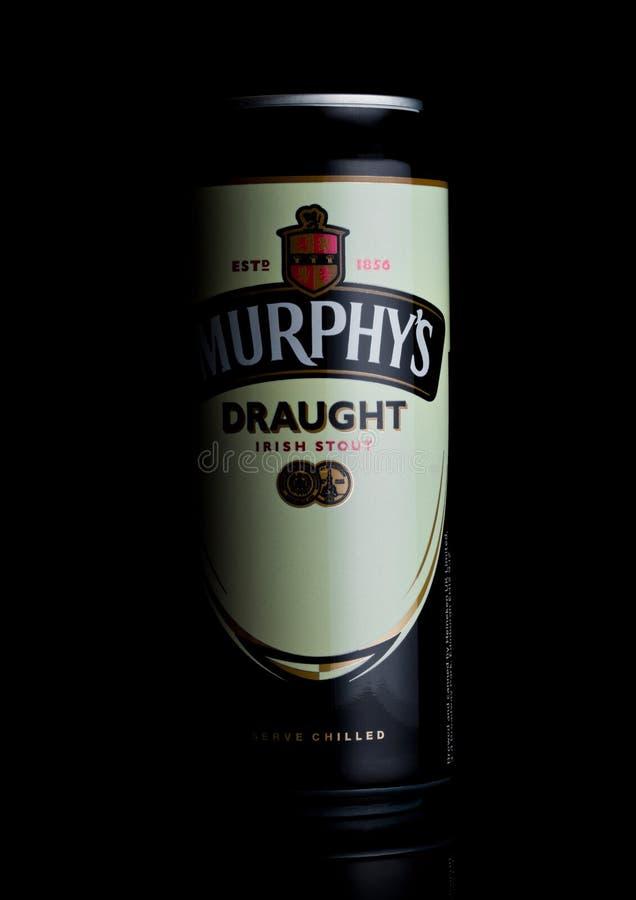 LONDON, UK - FEBRUARY 14, 2018: Aluminium can of Murphy`s Draught irish Stout beer on black. royalty free stock photo