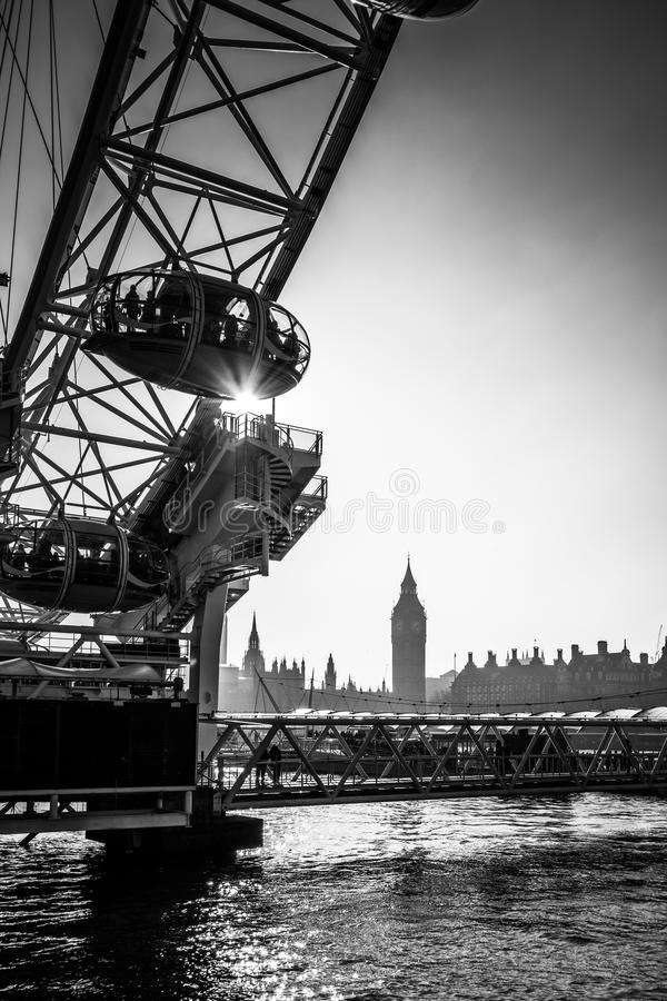 LONDON/UK - FEBRUARY 13 : View of the London Eye in London on Fe. Bruary 13, 2017. Unidentified people royalty free stock image