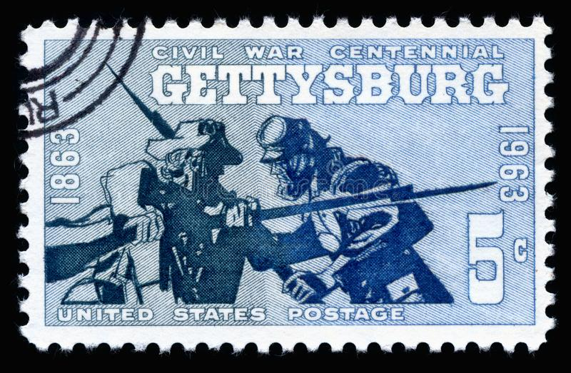 USA Postage Stamp Civil War Centennial Battle of Gettysburg 1863-1963. London, UK, February 19 2018 - Vintage 1961 United States of America cancelled postage stock photography