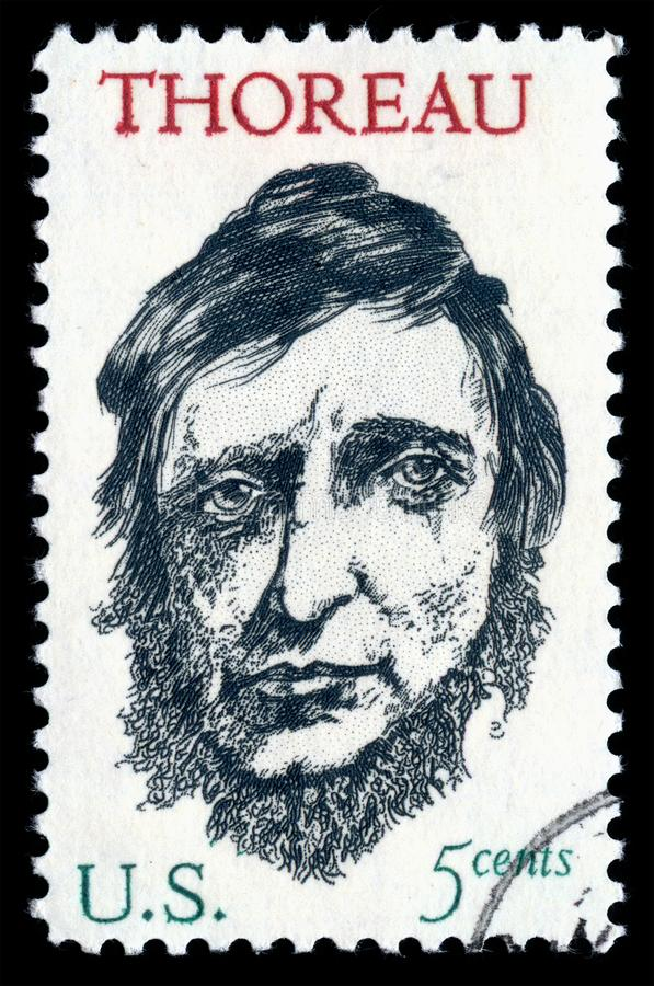 USA postage stamp Henry David Thoreau. London, UK, February 19 2018 - Vintage 1967 United States of America cancelled postage stamp showing a portrait image of royalty free stock photography