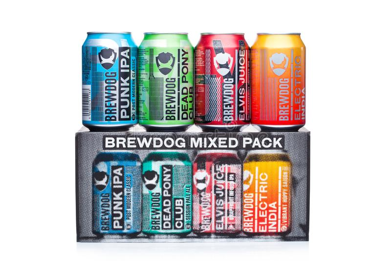 LONDON, UK - JANUARY 02, 2018: Aluminium cans of Brewdog beer selection, from the Brewdog brewery on white. royalty free stock photography