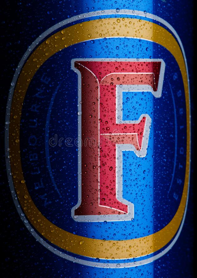 LONDON, UK - JANUARY 20, 2018: Cold Aluminium can of Foster`s Lager Beer on black background stock images