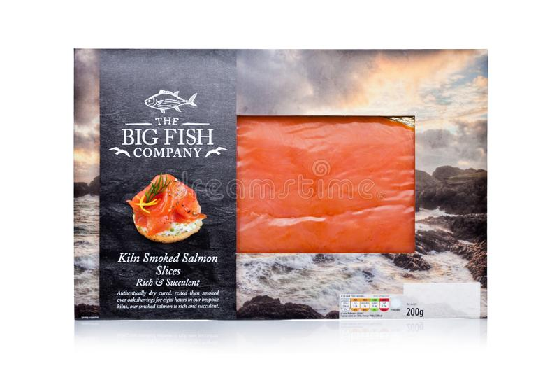 LONDON, UK - JANUARY 02, 2018: Pack of The Big Fish Company Kiln smoked Salmon Slices on white. stock photography