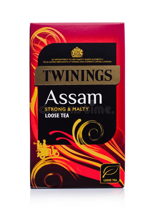LONDON, UK - JANUARY 02, 2018: Pack of Twinings Assam Tea on white.Twinings was founded in 1706 in London. stock image
