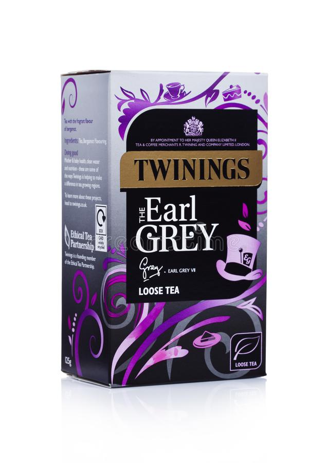 LONDON, UK - JANUARY 02, 2018: Pack of Twinings Earl Grey Tea on white.Twinings was founded in 1706 in London. stock photography