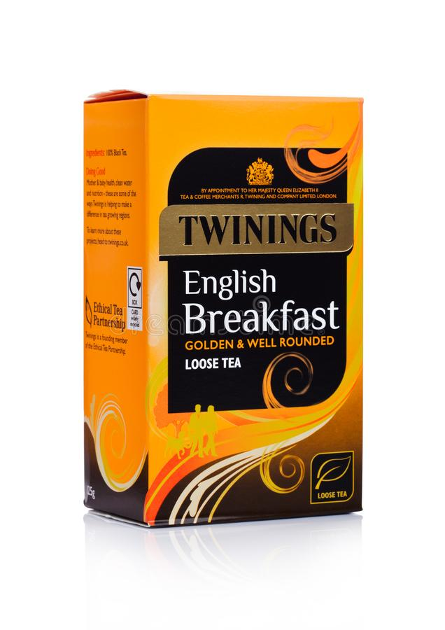 LONDON, UK - JANUARY 02, 2018: Pack of Twinings English breakfast Tea on white.Twinings was founded in 1706 in London. stock photography