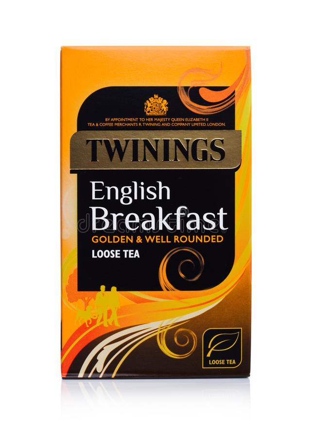 LONDON, UK - JANUARY 02, 2018: Pack of Twinings English breakfast Tea on white.Twinings was founded in 1706 in London. royalty free stock photography