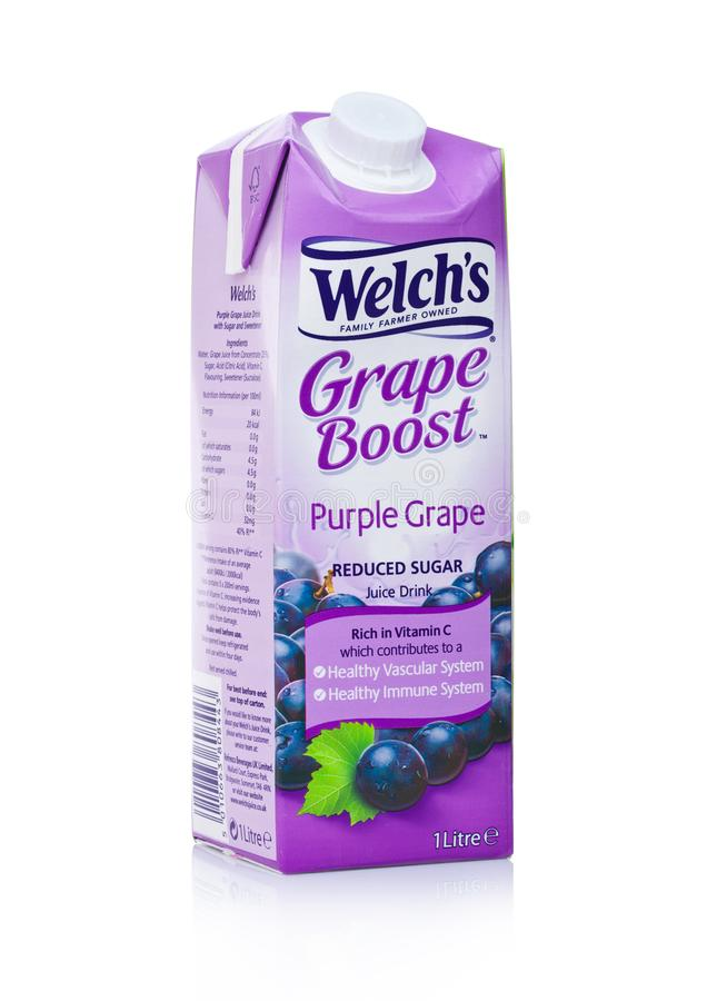 LONDON, UK - JANUARY 02, 2018: Pack of Welch`s Grape Boost purple grape juice on white.Welch Food Inc. is owned by the National G stock photos