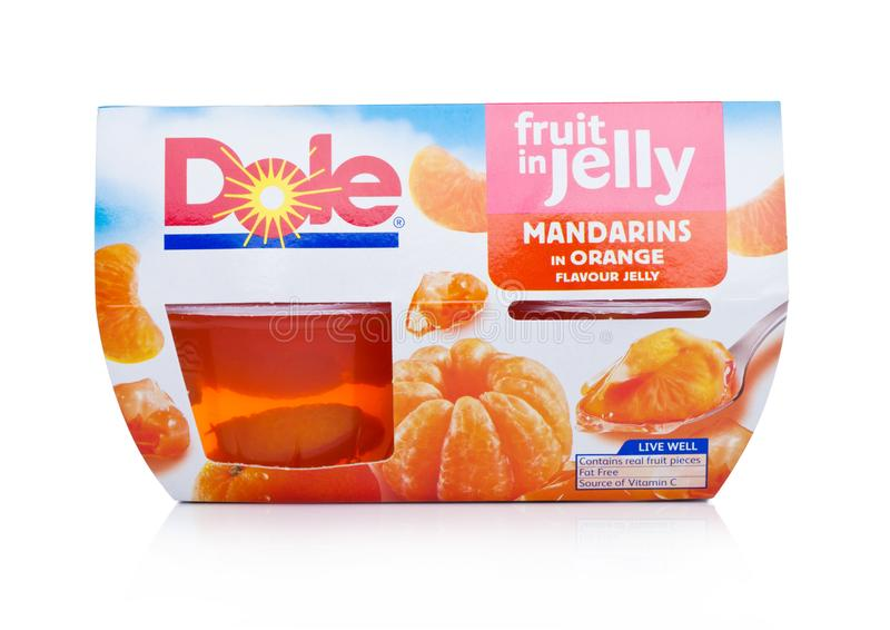 LONDON, UK - JANUARY 02, 2018: Packages of Dole fruit in juice in individual cups on white. stock photo