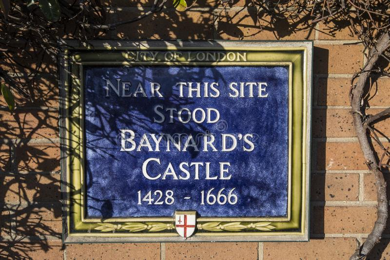 Baynards Castle Plaque in London stock photos