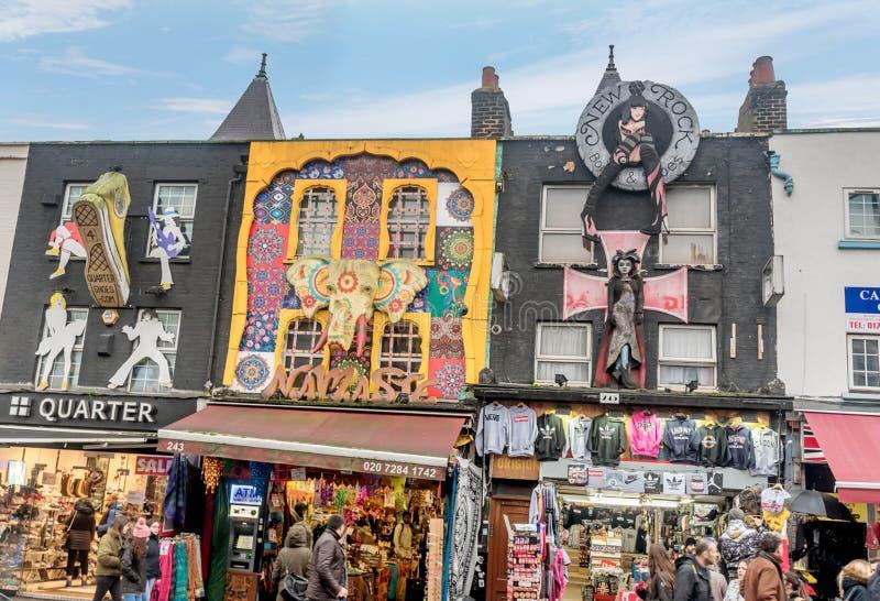 Main street in Camden, London. London UK- January 11, 2018: Tourist shopping at the Main street in Camden, London royalty free stock photography