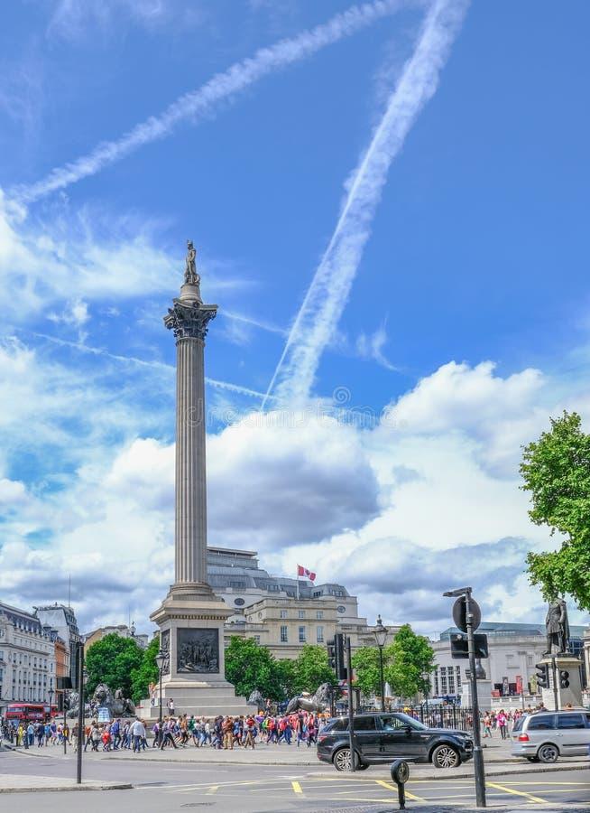 London UK - Juli 21, 2017: Nelson& x27; s-kolonn i Trafalgar Square Fl royaltyfria foton