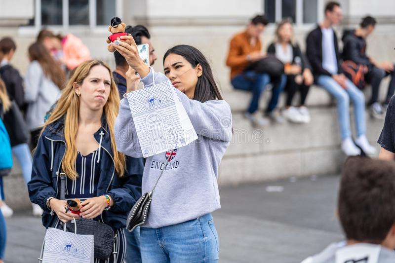 London, UK, July, 2019. Close up portrait of happy attractive people taking selfie in London stock photos