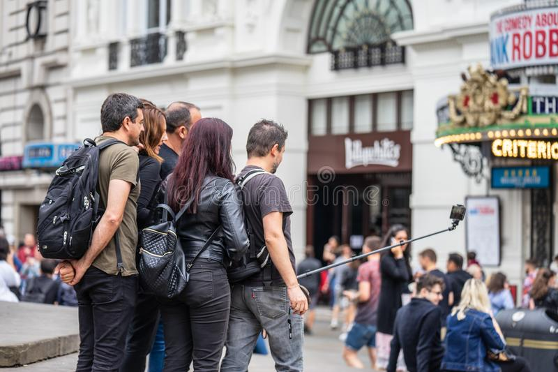 London, UK, July, 2019. Close up portrait of happy attractive people taking selfie in London royalty free stock images