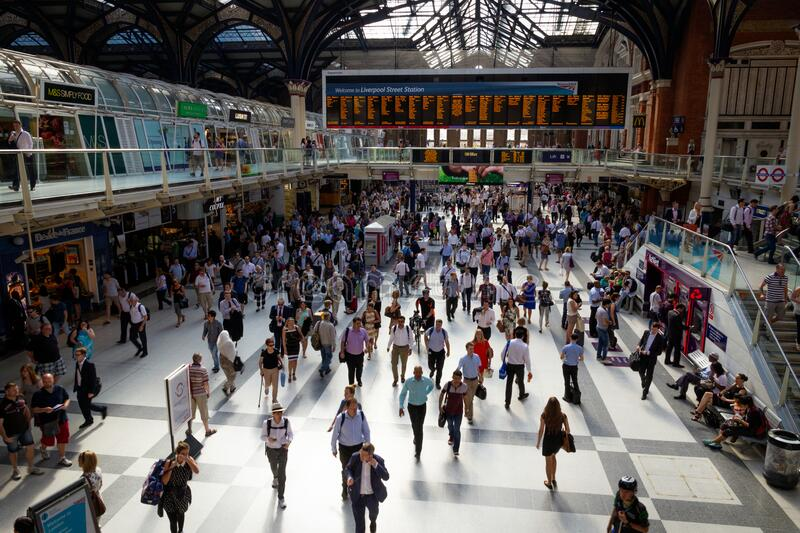 London, UK - JULY 1, 2015 : London Liverpool Street Station during rush hour royalty free stock photo