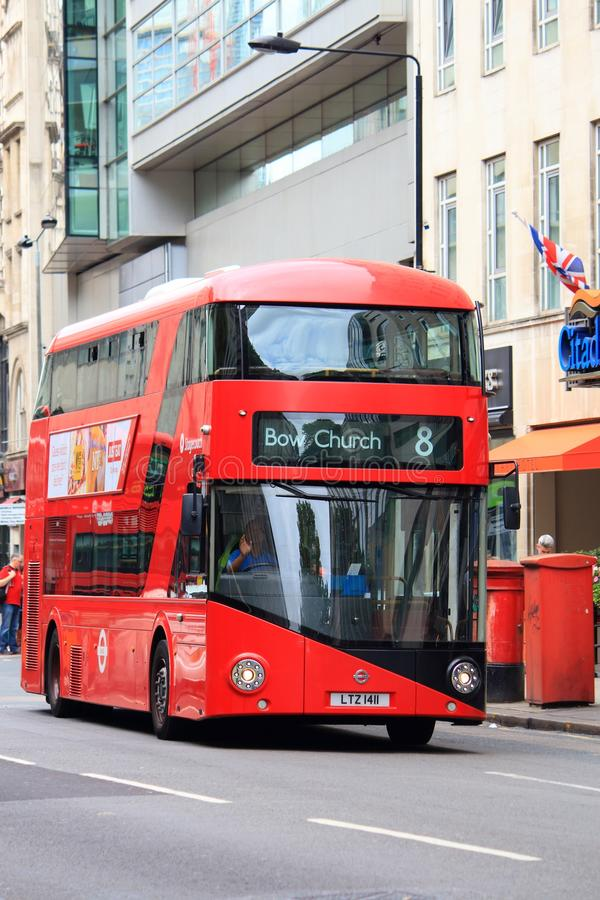 New Routemaster, London. LONDON, UK - JULY 9, 2016: New Routemaster bus in Holborn, London. The hybrid diesel-electric bus is a new, modern version of iconic royalty free stock photography