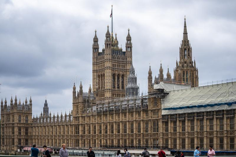 London, UK, July, 2019. The Palace of Westminster serves as the meeting place of the House of Commons and the House of Lords, the royalty free stock image