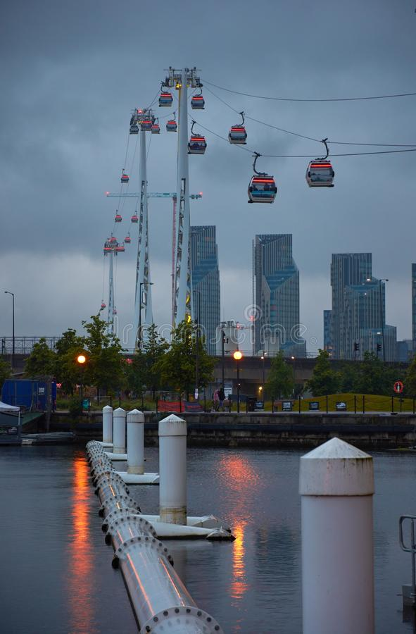 LONDON, UK - JUN 10 2019: Emirates cable car crosses the Thames from Excel centre to the O2 stock photo