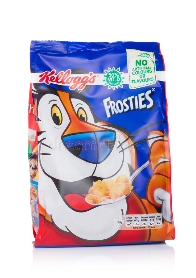 Free LONDON, UK - JUNE 01, 2018: Pack Of Kellogg`s Frosties Breakfast Cereal On White. Frosties Are A Popular Breakfast Cereal Made F Royalty Free Stock Image - 117951616
