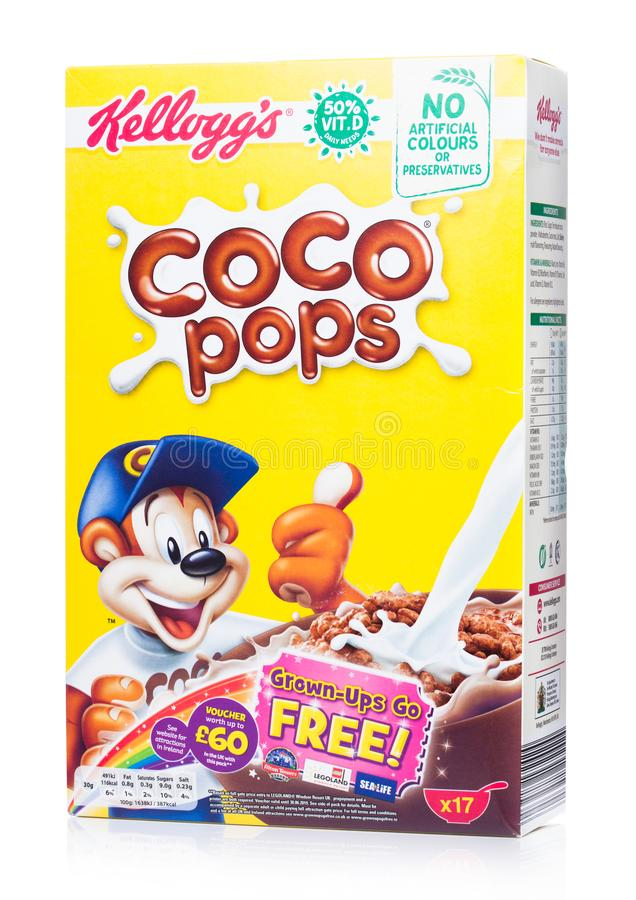 Free LONDON, UK - JUNE 30, 2018: Box Of Kellogg`s Coco Pops Breakfast Cereal On White, Frosties Are A Popular Breakfast Cereal Made Fr Stock Image - 120255001