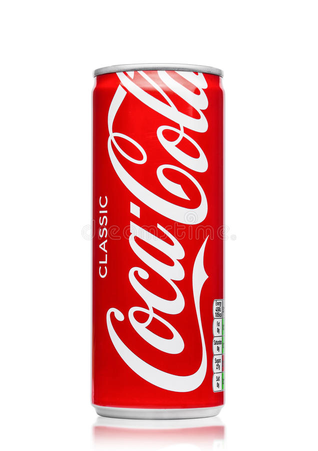 LONDON, UK - JUNE 9, 2017: Aluminium can of Coca cola soft drink on white.The Coca-Cola Company, an American multinational beverag. LONDON, UK - JUNE 9, 2017 royalty free stock photography