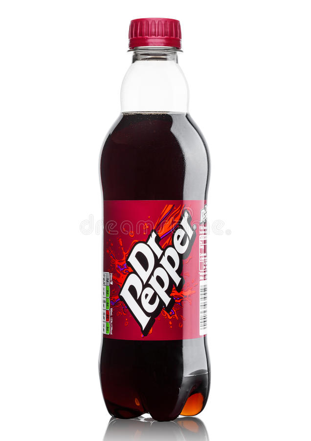 LONDON, UK - JUNE 9, 2017: Bottle of Dr.Pepper soda drink on white.Created in the 1880s by Charles Alderton in Waco, Texas, USA stock photos