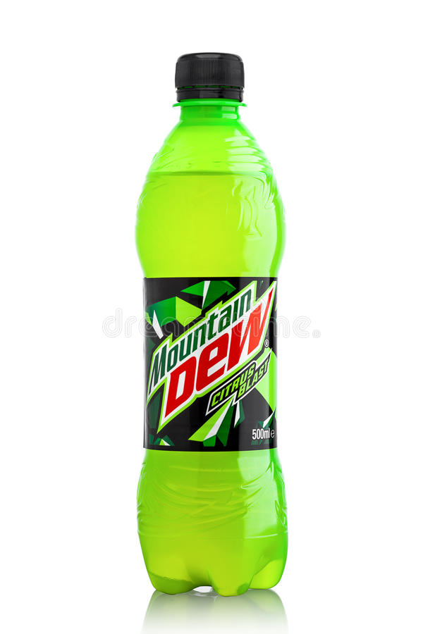 LONDON, UK - JUNE 9, 2017: Bottle of Mountain Dew drink on ice isolated on white. Mountain Dew citrus-flavored soft drink produced. LONDON, UK - JUNE 9, 2017 royalty free stock photos
